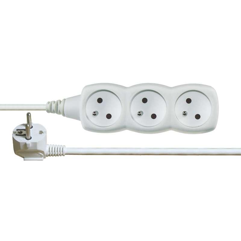 Prodlužovací kabel bílý 3 zásuvky 5m